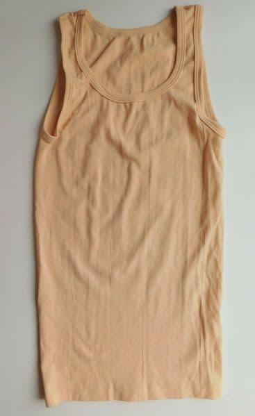Vintage 1970s childrens vest beige nylon Age 10-11 years approx UNUSED boy girl